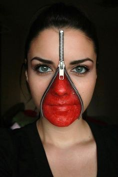 Zipper face. | 33 Totally Creepy Makeup Looks To Try This Halloween
