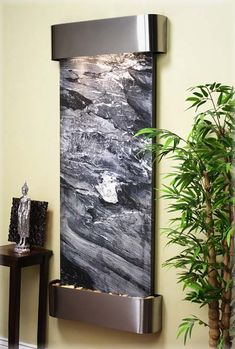 Customize your indoor water fountain with a company logo, colored LED Lights, or choose the exact stone that will be in your waterfall with our upgrade options. Indoor Wall Fountains, Indoor Fountain, Water Fountains, Fountain Ideas, Outdoor Fountains, Fountain Design, Indoor Waterfall Wall, Water Fountain For Home, Decorative Fountains