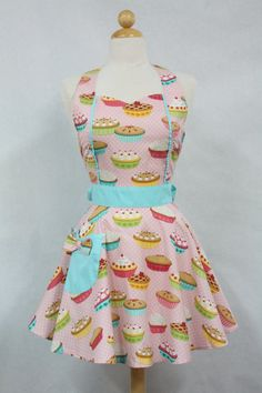 Retro Apron Vintage Style Sweetheart Neckline Pink by Boojiboo, $28.75