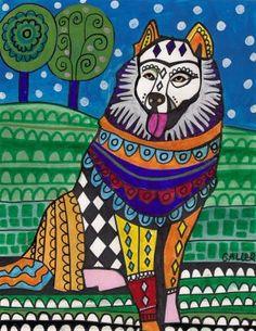 Samoyed Art Gift PRINT Dog Poster Art Modern by HeatherGallerArt, $24.00