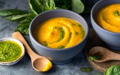 Creamy Cauliflower and Carrot Soup 1 cup chopped onion 2 cups chopped cauliflower 1 cup chopped carrots 1 cup chicken stock cup milk For the pesto: 2 T grated parmesan cheese 2 T pistachio kernels cup basil leaves 1 tablespoon greek yogurt Serves: 2 Soup Recipes, Whole Food Recipes, Cooking Recipes, Healthy Recipes, Healthy Meals, Healthy Eating, Clean Eating, Thm Recipes, Nutritious Meals