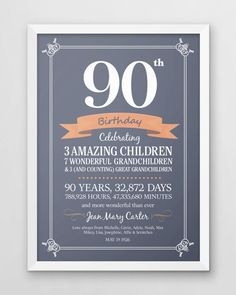 Personalized 90th Birthday Print Seventy Years Old Gift