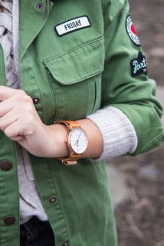 Timex watch. Casual and classic watch. Army green jacket with patches. Details on stylishlyinlove.blogspot.com