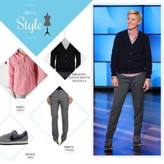 Ellen's Look of the Day: cardigan, button up plaid shirt, grey pants, grey nikes