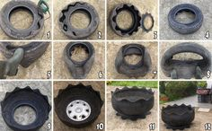 pierced hubcap acts as planter bottom, keeping in soil while allowing drainage.