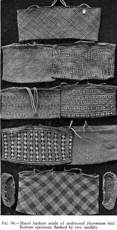 Fig. 94.—Maori baskets made of undressed phormium leaf. Bottom specimen flanked by two sandals