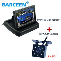 "170 wide lens angel car backup camera apply into kinds of cars with 8 led +In-Dash placement 4.3"" wire car display monitor"