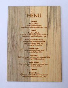 engraved wood menu slip - Google Search