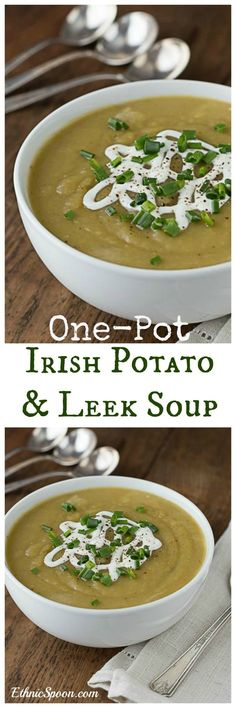 Super simple one pot  Irish potato leek soup recipe is fast and delicious. Just a few ingredients is all you need. Makes a great vegan meal when you use vegetable stock.  Creamy and delicious! #onepotmeal |ethnicspoon.com