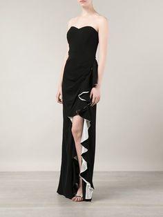 BADGLEY MISCHKA strapless ruffled evening dress