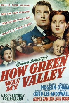 One of my all time favs!  How Green Was My Valley (1941) - At the turn of the century in a Welsh mining village, the Morgans (he stern, she gentle) raise coal-mining sons and hope their youngest will find a better life. Lots of atmosphere, very sentimental view of pre-union miners' lives.