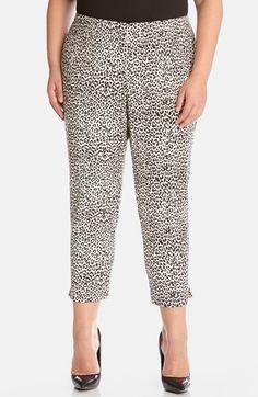 Karen Kane Plus Size Fashion Black and White Cheetah Print Capri Pants available from Nordstrom  #Karen_Kane #Black #White #Cheetah #Stretch #Capri #Pants #Plus #Size #Womens #Fashion #KarenKane #Plus_Size_Fashion #Nordstrom