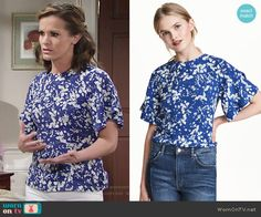 Chelsea's blue floral top on The Young and the Restless. Outfit Details: https://wornontv.net/68820/ #TheYoungandtheRestless