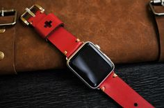 Vintage Leather Strap incl. Lugs Adapter for Apple Watch (or Apple Watch Sport) 42mm or 38mm BF20-RED incl Buckle by Pionier1956 on Etsy https://www.etsy.com/listing/236488674/vintage-leather-strap-incl-lugs-adapter