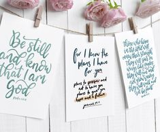 Choose your own favourite Bible quotes from these beautiful hand lettered scripture cards. Whether you're looking for encouraging verses, quotes about love or quotes for hard times, there are many to choose from. By The Lettering Tree.