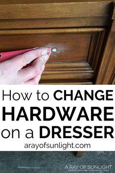 How to Change Hardware on a Dresser Diy Dresser Makeover, Bedroom Furniture Makeover, Painted Bedroom Furniture, Diy Furniture Easy, Furniture Repair, Dresser Makeovers, Wooden Bedroom, Repurposed Furniture, Modern Furniture