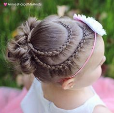 Lace Dutch Braid Heart into 3 small messy buns.
