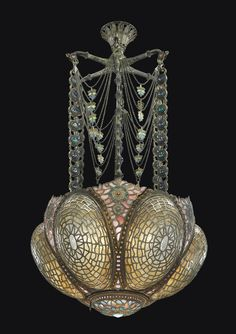 Tiffany Studios A Rare and Early Chandelier, Circa 1895