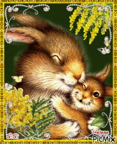 See the PicMix Hare and baby hare. belonging to StellaStai on PicMix. Happy Easter Gif, Happy Easter Wishes, Picmix Gif, Special Friend Quotes, Easter Pictures, Different Holidays, Christmas Animals, Months In A Year, Hare