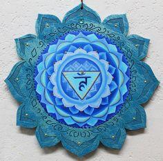 5th chakra, throat chakra, Vishuddha chakra, Blue mandala chakra,healing art, chakra meditation art by Lori Felix <3