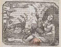 Xilografía alusiva en cabecera de una mujer con aureola en la cabeza en una cueva con un libro en la mano, al fondo una cierva alimenta a un niño