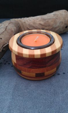 Segmented Wood Tea Light Candle Holder 1.  via Etsy.
