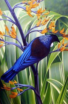 by Miranda Woollett Art Maori, Flax Flowers, New Zealand Art, Nz Art, Art Folder, Steel Art, Wildlife Art, Bird Art, Beautiful Birds