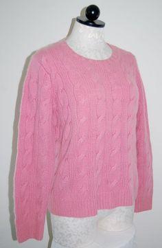 Folio New York 100% Cashmere Thick 4ply Pink Cableknit Crewneck Sweater M #FolioNewYork #Crewneck