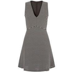 Black Stripe V Neck Skater Dress ($21) ❤ liked on Polyvore featuring dresses, v neck fit and flare dress, cocktail dresses, sleeveless cocktail dress, v neck dress and special occasion dresses