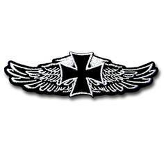 Iron Cross Wings Patch Iron on Badge Biker Sew Harley Race Harley Vest Tattoo   #Fulfill