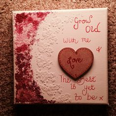 """6"""" square salt textured canvas with wooden heart"""