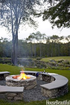 Even without a chimney, this bonfire serves as a gathering place at Bonnie Edelman's Connecticut property. Logs stack under the benches, and speakers blend into the walls of local stone.