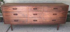 """Mid Century Danish Modern 67"""" Walnut 9 Drawer Dresser Credenza Jack Cartwright   eBay"""
