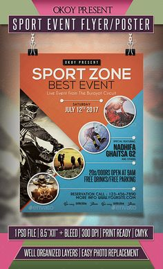 Buy Sport Event Flyer / Poster by OKOY on GraphicRiver. Sport Event flyer templates or poster template designed to promote any kind of music event, concert, festival, party . Event Poster Design, Graphic Design Posters, Flyer Design, Event Design, Event Posters, Flyer Poster, Poster Layout, Poster Sport, Layout Design