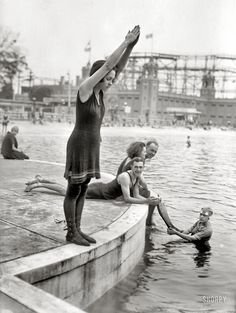 """Poised: Starlight Park, the Bronx, circa 1921. """"Joan Desborough (ready for a dive)."""" 5x7 glass negative, George Grantham Bain Collection.  Click to view full size."""