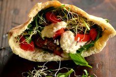 Picture these pita pockets: Falafels with Fresh Horseradish Sauce.