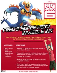 Disney Big Hero 6 Invisible Ink Science Experiment