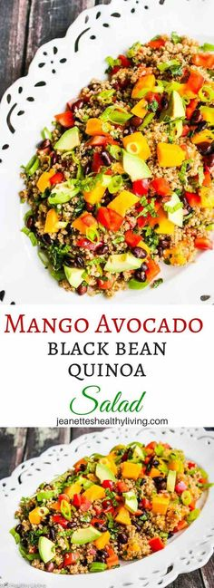 Mango Avocado Black Bean Quinoa Salad is a healthy and hearty salad, perfect as a vegetarian or vegan main course salad or as a side dish.Mango Avocado Black Bean Quinoa Salad RecipeKathy Maw salads Mango Avocado Black Bean Quinoa Salad is a h Main Dish Salads, Healthy Side Dishes, Healthy Salads, Healthy Eating, Avocado Quinoa, Avocado Salat, Quinoa Salad Recipes, Vegetarian Recipes, Healthy Recipes