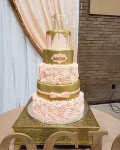Rocio Quince Peach and Gold Quince Cakes, Quinceanera Cakes, Peach, Gold, Peaches, Yellow