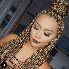 black girl with colored hair, afro hairstyle, box braids | Afro | Negra | Estilo…