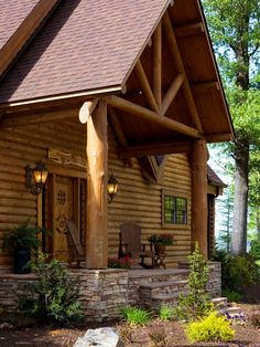houseandhomepics:  entry by Home Design Elements LLC http://www.houzz.com/photos/3367550/Log-Home-Caldwell-traditional-entry-other-metro