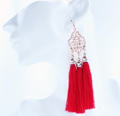 Our dramatic Diva Red Tassel Earrings are bold bright and beautiful plus they're now half price!
