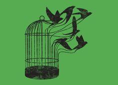 Cool tattoo idea- I'll make freedom from my cage Songbird Tattoo, Tattoo Bird, Freedom Tattoos, Cage Tattoos, Bird Quotes, Quotes Quotes, Illustration, Future Tattoos, Bird Cage