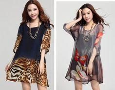 2014 new  fashion summer plus size  print chiffon one-piece dress  leopard print big size floral for women clothes XL XXL,XXXL