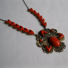Vintage 1920s Art Deco Necklace Filigree Red by unionmadebride