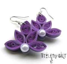 Lotus Paper Quilled Earrings by StyleMyGift on Etsy, $10.00