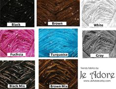 Lovely delicate sequin yarn skeins. Lots of colors to choose from.    Specifications per skein:  2 ounces (57grams) 100% Polyester    You will receive 4