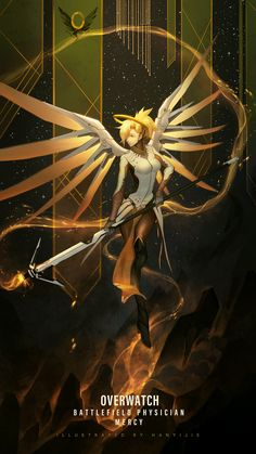 Hot Japan Anime Overwatch Mercy Home Decor Poster Wall Scroll - Animation Poster - Ideas of Animation Poster Overwatch Mercy, Overwatch Fan Art, Mercy Fanart, Overwatch Wallpapers, 5 Anime, Widowmaker, Angels And Demons, Video Game Art, Fantasy Girl