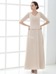 One-Piece Half Sleeves V-Neck Satin Mother Of Bride And Groom Dress. This mother of bride and groom dress features its half sleeves design with v-neck neckline and floor length style.Here we took into consideration the three key elements that go into choosing a dress price, style and quality.. . See More Mother of the Bride Dresses at http://www.ourgreatshop.com/Mother-of-the-Bride-Dresses-C928.aspx