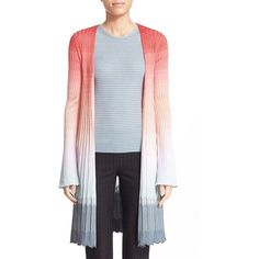 Missoni Ombre Knit Cardigan ($1,945) ❤ liked on Polyvore featuring tops, cardigans, open front cardigan, long knit cardigan, long sleeve tops, open knit cardigan and knit tops